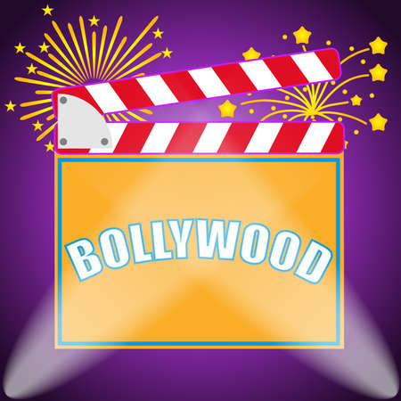 Banner Bollywood, Indian Bollywood. Production of Bollywood films. Flat design, vector illustration, vector.