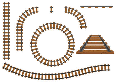 Railway, a set of railroad tracks. Rails and sleepers. Flat design, vector illustration, vector. Vettoriali