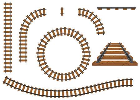 Railway, a set of railroad tracks. Rails and sleepers. Flat design, vector illustration, vector. Vettoriali