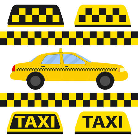 Taxi, taxi icon, transport for passengers. Flat design, vector illustration, vector. Illustration