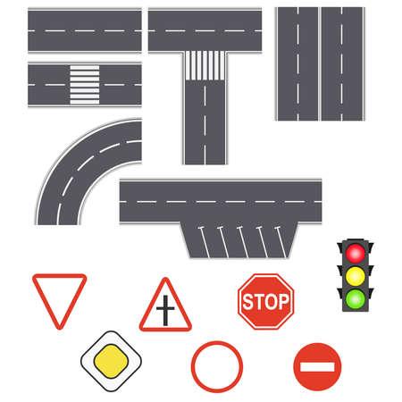 Highway asphalt path traffic streets. Street and road with footpaths. Set of road signs. Flat design, vector illustration, vector. Ilustração