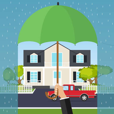 The hand holds an umbrella over the house. The concept of home security. Flat design, vector illustration, vector.