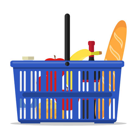 Basket with products. A supermarket shopping cart icon with a set of products. Flat design vector illustration.