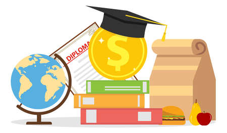 The concept of investment in education. Globe, diploma, textbooks, graduate hat. Flat design, vector illustration, vector.