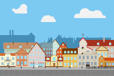 Street old town with old houses. Ancient pavement. Urban city. Flat design, vector illustration, vector. Illustration