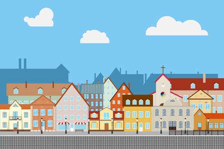 Straat oude stad met oude huizen. Oude bestrating. Stad. Platte ontwerp, vector illustratie, vector.