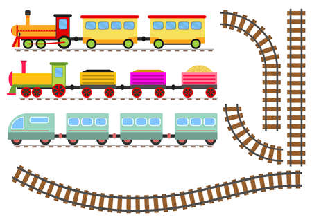 Cartoon train with wagons and railway. The toy train goes by rail. Flat design, vector illustration, vector.