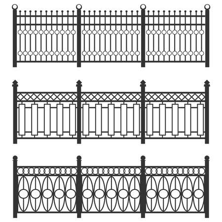 Metal fence-grid, forged fence. A set of fences made of black grating. Isolated chain linked fences metal. Flat design, vector illustration, vector. Vectores