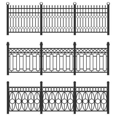 Grille de clôture en métal, clôture forgée. Un ensemble de clôtures en caillebotis noir. Clôtures métalliques liées à des clôtures. Design plat, illustration vectorielle, vector Vecteurs