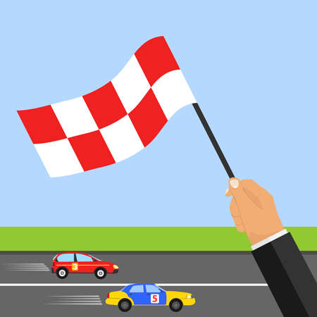 Race track. The hand with the flag shows the finish. Two cars ride at speed on the racetrack. Vectores