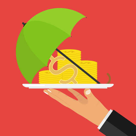 Concept of money protection. The hand holds a tray with money covered with an umbrella. Flat design, vector illustration, vector.