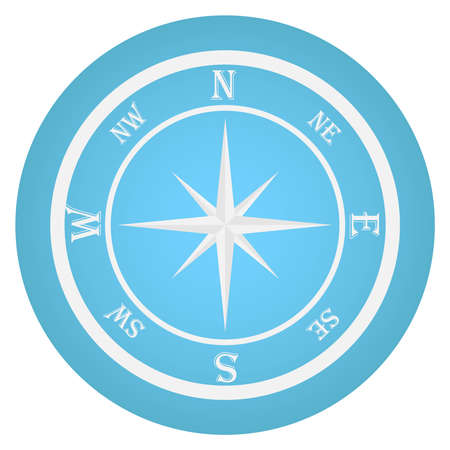 A realistic white compass on a blue background. Flat design, vector illustration, vector. Illustration