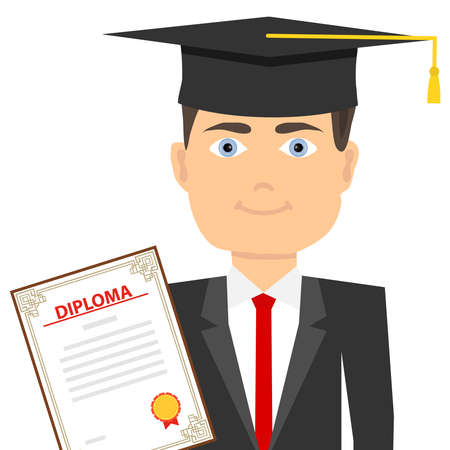 A graduate in a graduate's hat with a diploma. The concept of education. Flat design, vector illustration, vector.