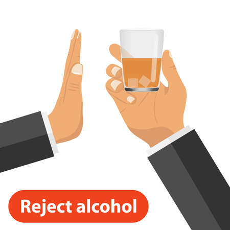The hand rejects alcohol. One hand holds out a glass with alcohol, the other rejects it. The concept of a sober life. Flat design, vector illustration.