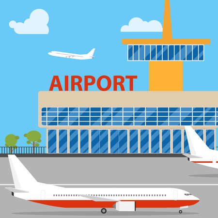 Airport. Aircraft are on the runway. Flat design, vector illustration, vector.