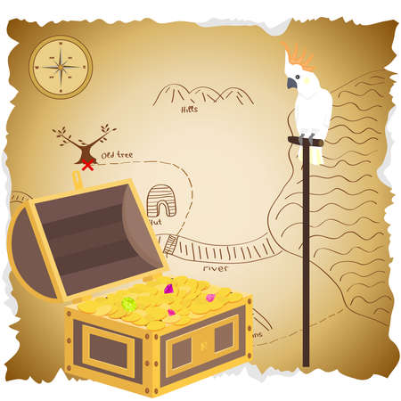 Treasure chest with map. Pirate treasure. Parrot Cockatoo sits in the vault of the treasure. Flat design, vector illustration, vector. Stock Illustratie