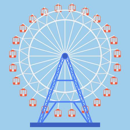 Ferris wheel icon. Attraction. Flat design, vector illustration, vector. Illustration