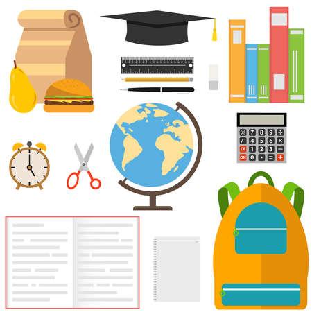 A set of school supplies. Globe, ruler, pencil, pen, book, scissors, graduate hat. Flat design, vector illustration, vector.