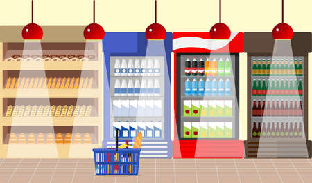 Interior of a supermarket. A supermarket with showcases and shelves. Products on the shelves. Flat design, vector illustration, vector. Illustration