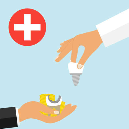 Insert a tooth implant for money. Commercial medicine. The person in the palm of the hand holds out the money with the tooth in exchange for the implant. Illustration