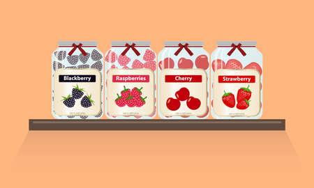 Banks with jam are on the shelf. A set of jars with jam, canned food. Flat design, vector illustration, vector. Ilustração