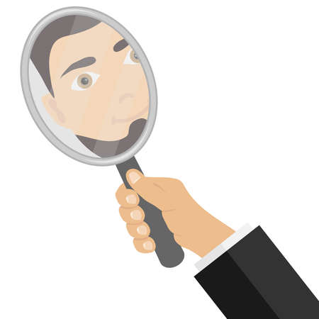 Um homem olha no espelho. Reflexão do homem no espelho. Ilustração em vetor design plano, vetor. Ilustración de vector