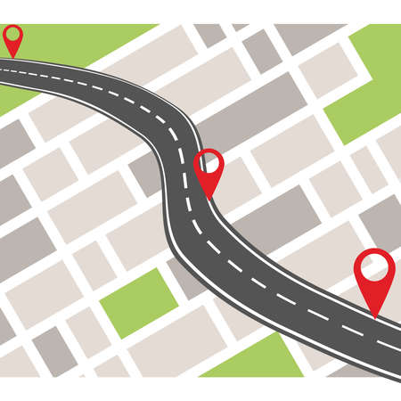 GPS navigation system banner. Navigation concept with pin pointer.