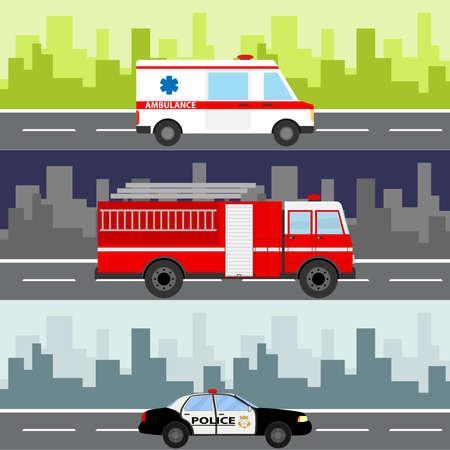 An ambulance, a fire truck, a police car on a city landscape background.