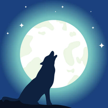 The wolf howls to the moon. Moon and wolf. Flat design, vector illustration, vector.