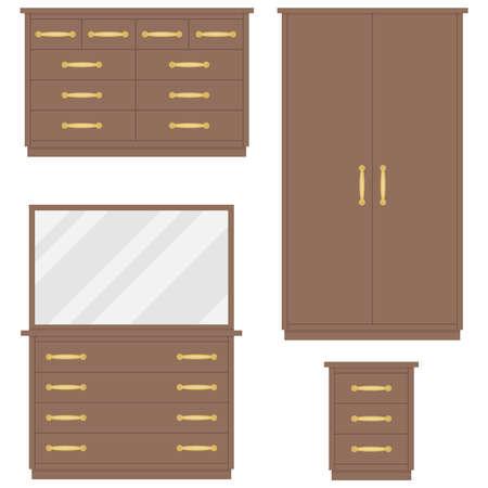 Bedroom furniture chest of drawers, wardrobe, dressing table, bedside table. Flat design, vector illustration. Illustration