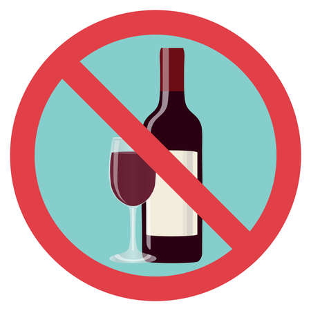 Refusal of alcohol, stop alcohol. A bottle of wine with a glass is crossed out with a red line. Flat design, vector illustration, vector. Illustration