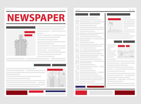 The newspaper, the first and last pages of the newspaper. News line, news. Flat design, vector illustration, vector. 일러스트