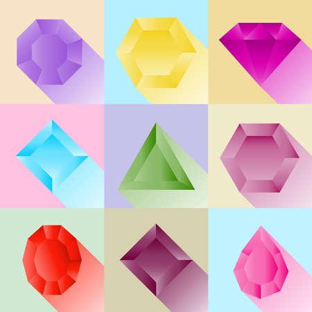 Precious stones, a set of realistic gemstones with shadows. Flat design, vector illustration, vector. Illustration