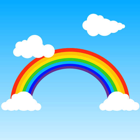 Rainbow, realistic rainbow with clouds on a blue background. Rainbow icon. Flat design, vector illustration, vector.
