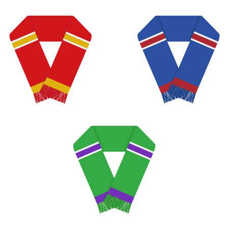 Bufanda de fanáticos del fútbol, bufandas conjunto de fanáticos del fútbol. Diseño plano, ilustración vectorial, vector.