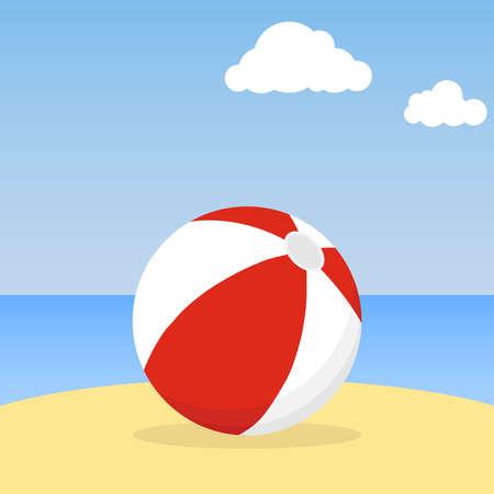 Beach ball lying in the sand. Beach ball against the blue sky. Flat design, vector illustration.