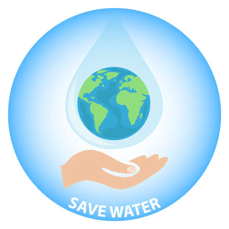 Save the Earth water. The hand holds the planet Earth in the form of a drop of water on the palm of your hand. 写真素材 - 97358226