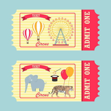 A ticket to the circus, a vintage ticket to the circus, the front and back of the ticket to the circus. Flat design, vector illustration, vector.