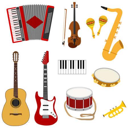 Set of Musical instruments with Guitar, saxophone, drum, maracas, accordion. Flat design, vector illustration. Illustration