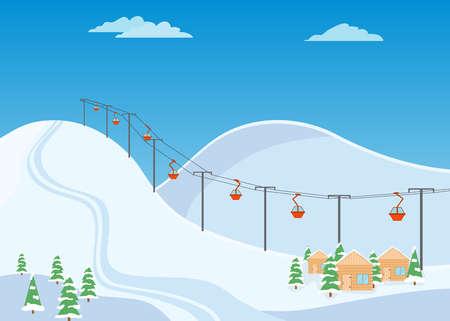 Mountain ski trail, ski resort with snow and wooden houses flat illustration. Illustration