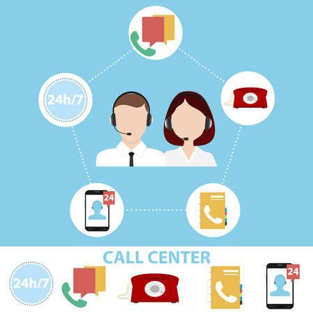 Call center, obtaining information concept illustration.