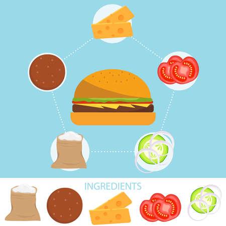 Hamburger, Ingredients of a hamburger. Flour, cutlet, cheese, tomatoes, cucumbers. Flat design, vector illustration, vector. Illustration