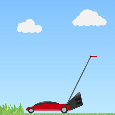 A red lawn mower on a green background with a shadow. Flat design, vector illustration, vector. Stock Illustratie