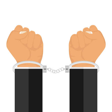 Hands in handcuffs. Cuffs are handcuffed. Flat design, vector illustration, vector.