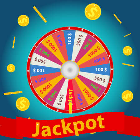 Jackpot, the wheel of luck showed on the jackpot. Win in the casino. Flat design, vector illustration, vector.