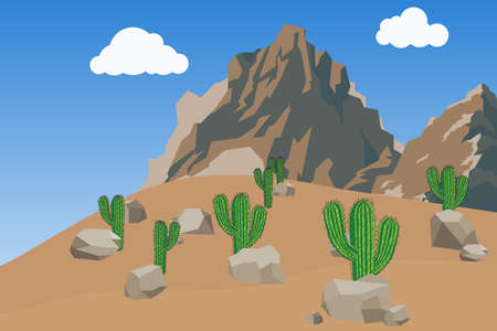 Desert with mountains and cacti. Landscape with mountains against the blue sky. Flat design, vector illustration, vector.