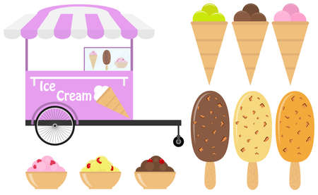 Cart with ice cream, a set of realistic colored ice cream on a white background. Flat design, vector illustration, vector.