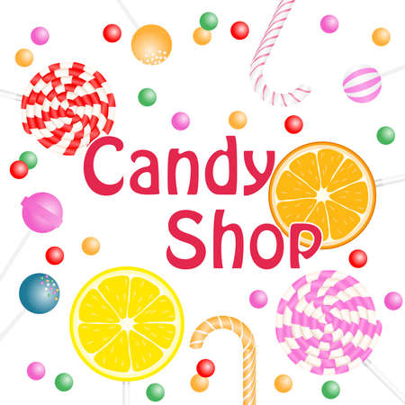 Candy Shop banner. Realistic candy poster. Flat design, vector illustration, vector. Illustration