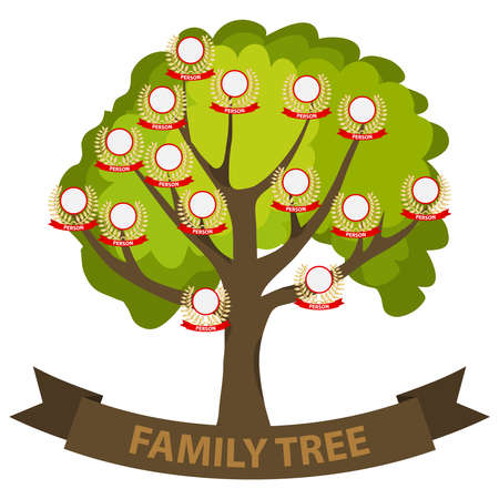 Genealogy tree, family tree with family members. Flat design, vector illustration. Archivio Fotografico - 100160345