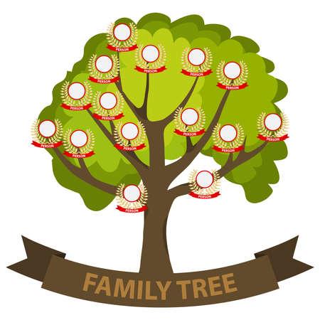 Genealogy tree, family tree with family members. Flat design, vector illustration.